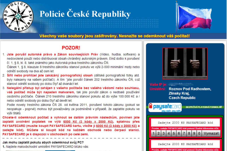 Virus Policie České republiky v prohlížeči – jak odstranit